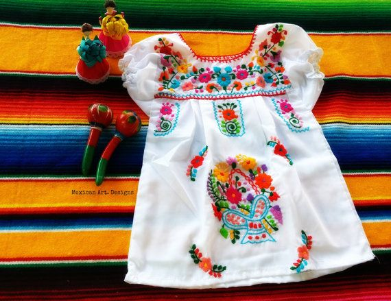 5f39bf88dca6 Valeria White Mexican Embroidered Baby Dress by MexicanartDesigns ...