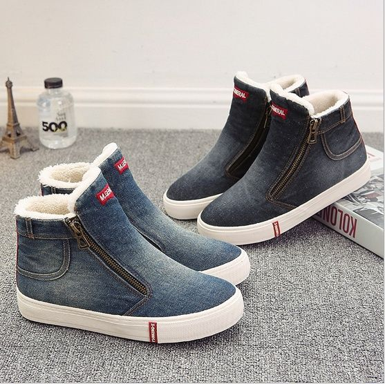 1118ae888 Wish | Women Jean Style Boots Snow Warm Winter Fur Ankle Boots Ladies Winter  Botas