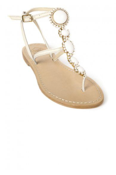 80c3f31cebbe0 Emanuela Caruso White Jewel Sandals, Diamante Beach Wedding Sandals ...