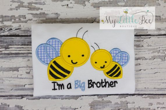 Big Brother Bumble Bee Applique Shirt, Sibling Shirt, Birth Announcement