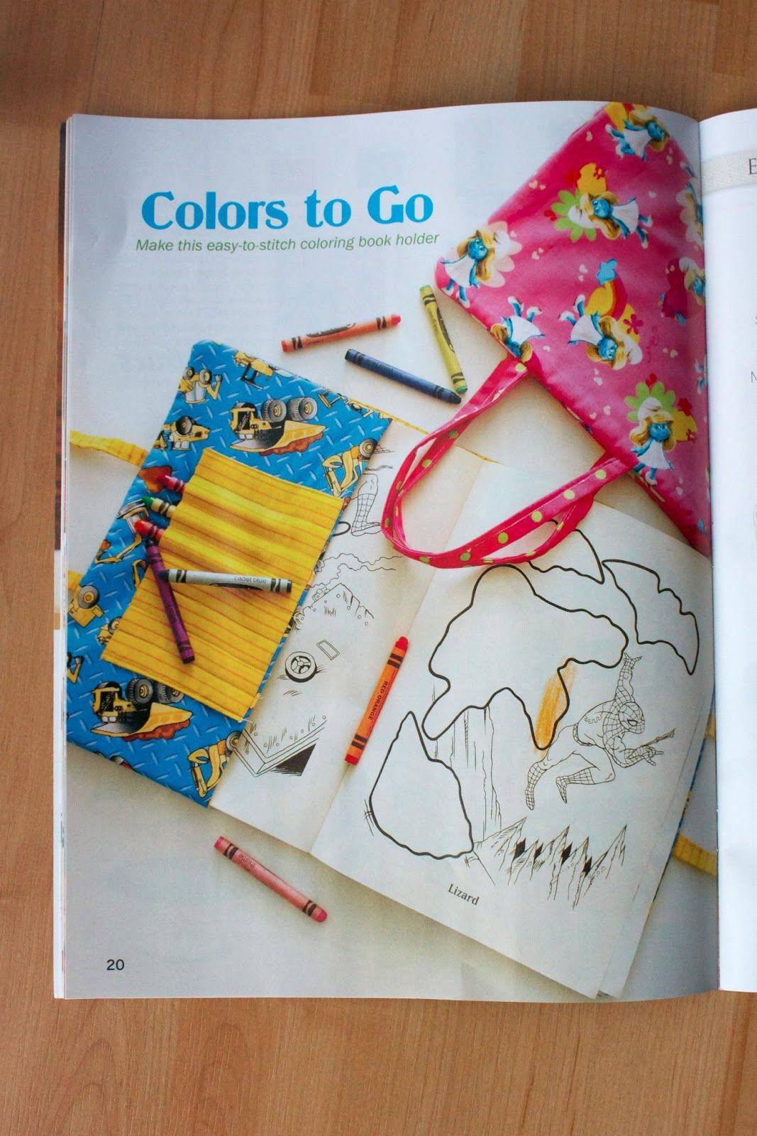 Coloring Book Tote In Sewing Today Magazine Sewing For Kids Coloring Books Sewing