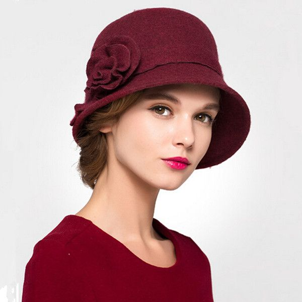 4026fb7592290e Women flower bowler bucket hat wool cloche hat winter wear ...
