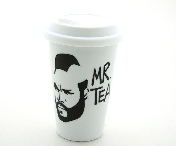 Mr T Tea Travel Mug Double Walled Porcelain with Lid par LennyMud, $20,00