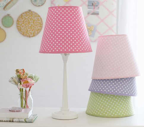 Baby Lamp Shades Nursery Round Pink Purple Green Polkadot Modern White Elegant Stained Wooden Legatch Them With Cheerful Dotty