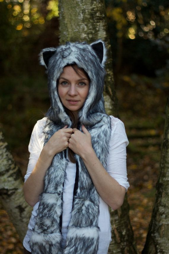 New Animal Snood Hood Arctic Wolf Faux Fur Hat by ak4solutions, $29.00