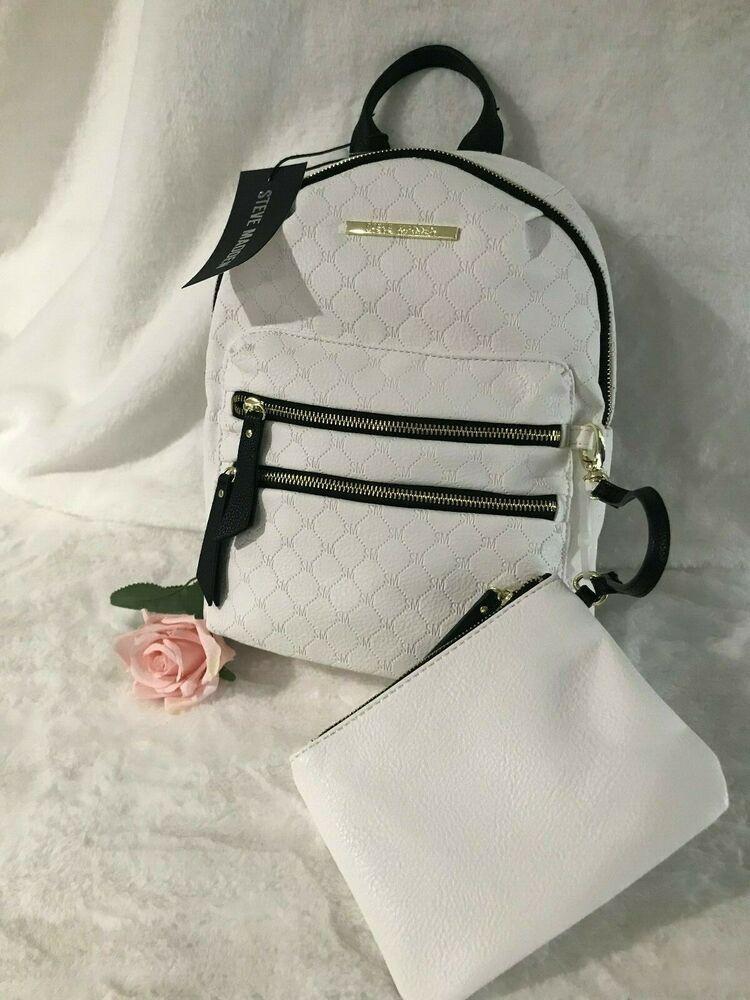 e92cb48c322f Steve Madden White BMIDI Prep Logo Backpack DT606330 and Wristlet ...