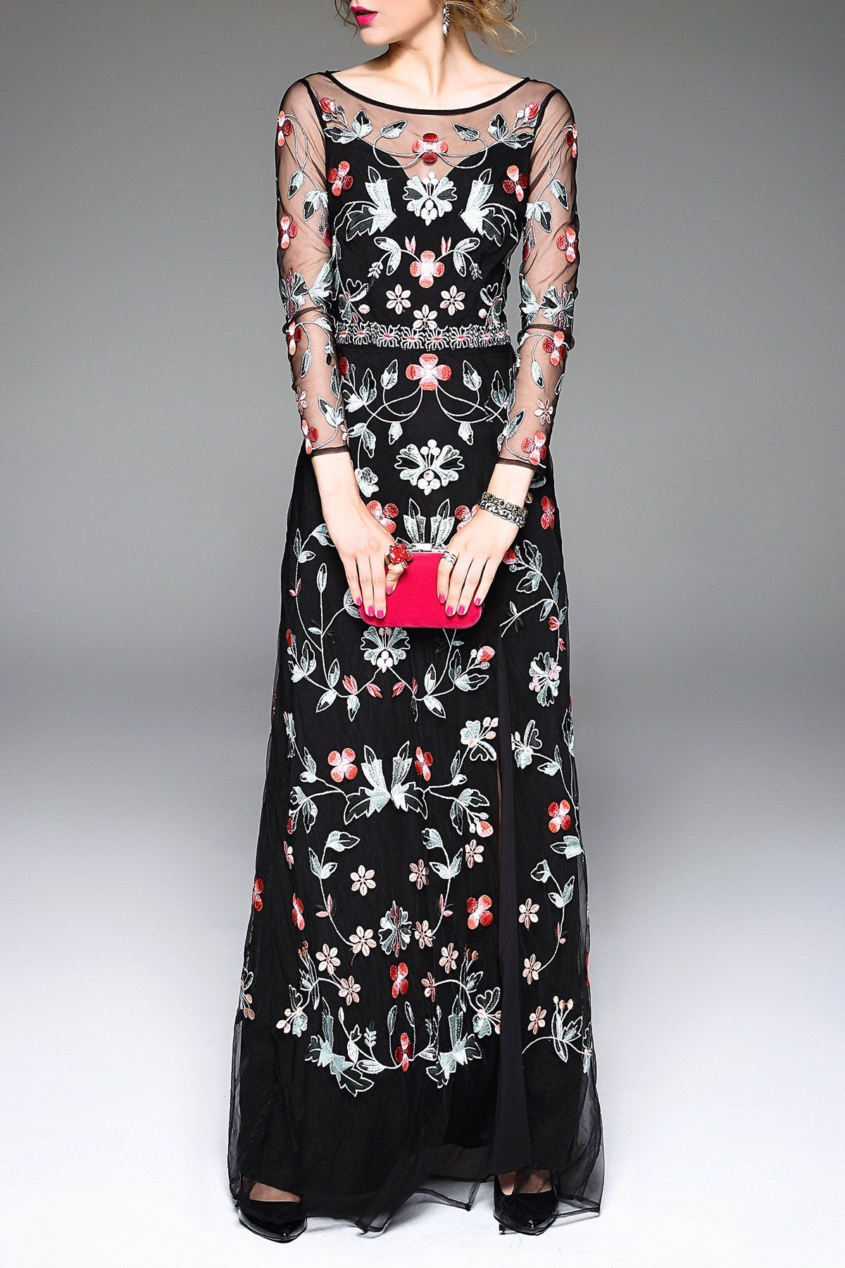 Floral embroidered slit prom dress black xl prom in