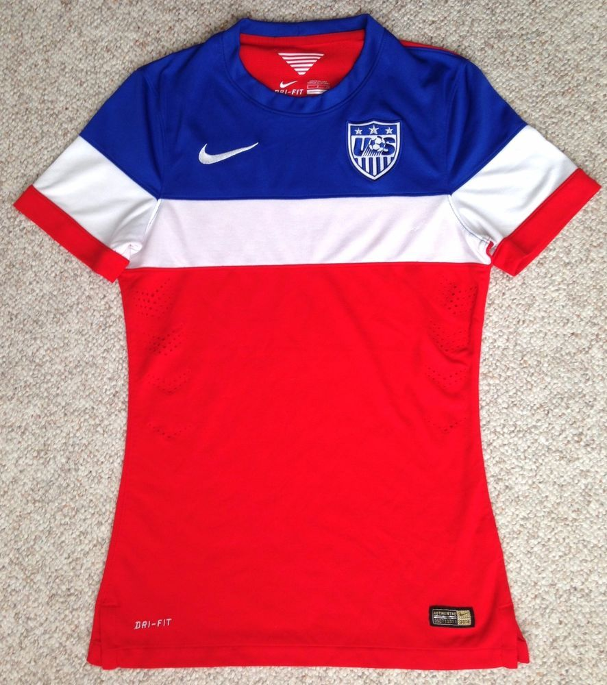 a679f48ed8f Womens NIKE DRI FIT TEAM USA SOCCER T-SHIRT JERSEY Dry Polyester Red White  Blue  Nike  USA