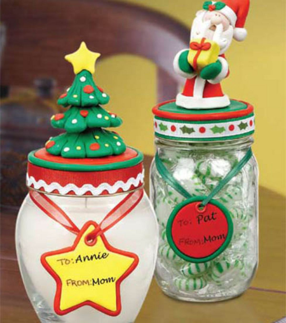 Christmas Jar Toppers Christmas Jars Christmas Clay Polymer Clay Christmas