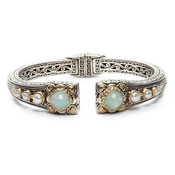 Konstantino 'Amphitrite' Pearl & Semiprecious Stone Cuff ($2,125) via Polyvore featuring jewelry, bracelets, pearl jewelry, semiprecious stone jewelry, cuff bracelet, semi precious stone jewelry and handcrafted jewelry