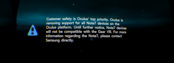 Oculus removes Gear VR, Note 7 compatibility