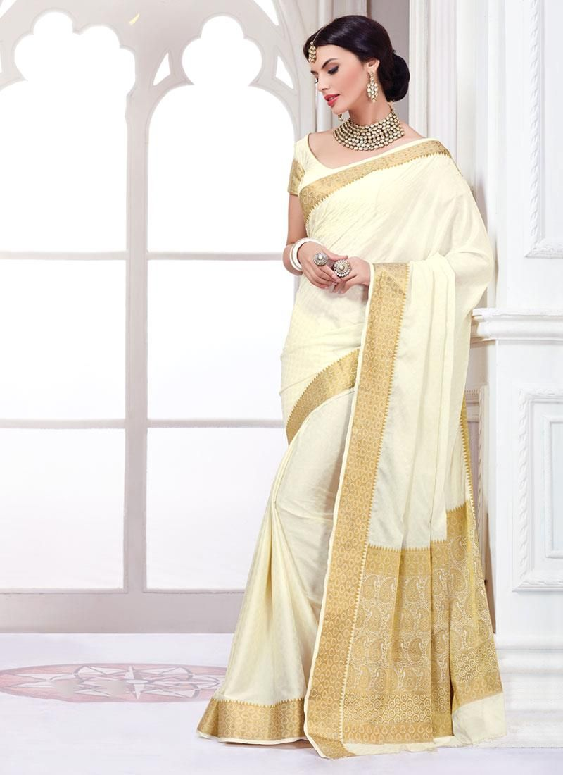 Picturesque Faux Crepe Off White Designer Saree  Purity In White