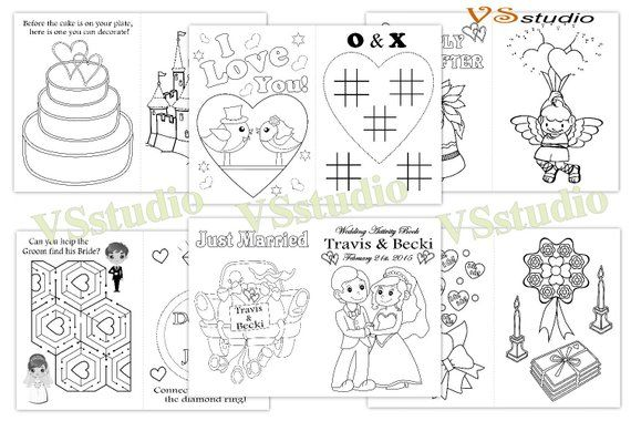 Kids Wedding Activity Coloring Book, Personalized Wedding coloring ...