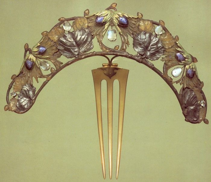 Lalique 1900-02 'Hazel Branch' Diadem: horn/ gold/ enamel/ silver/ moonstones: purchased from the artist in 1903. Calouste Gulbenkian