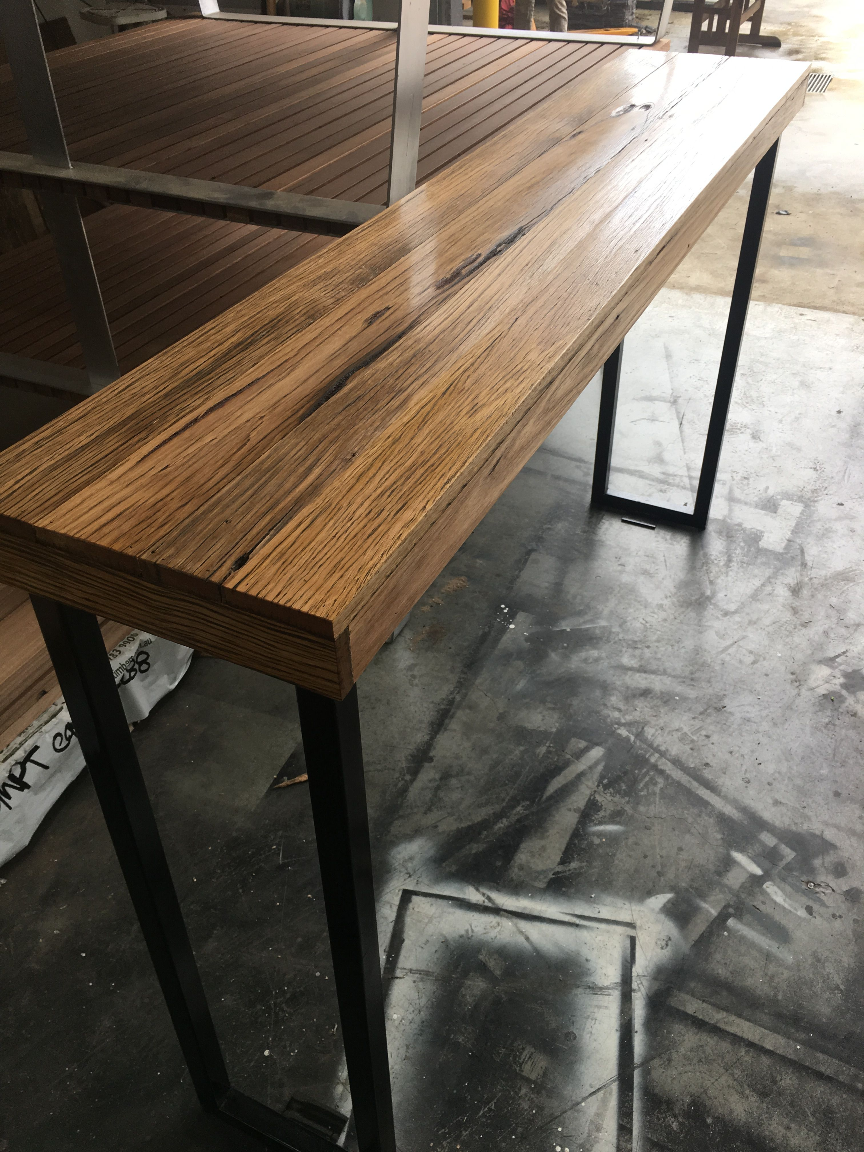 ea38362e6ecd Recycled Timber palings industrial bar table with black metal legs ...