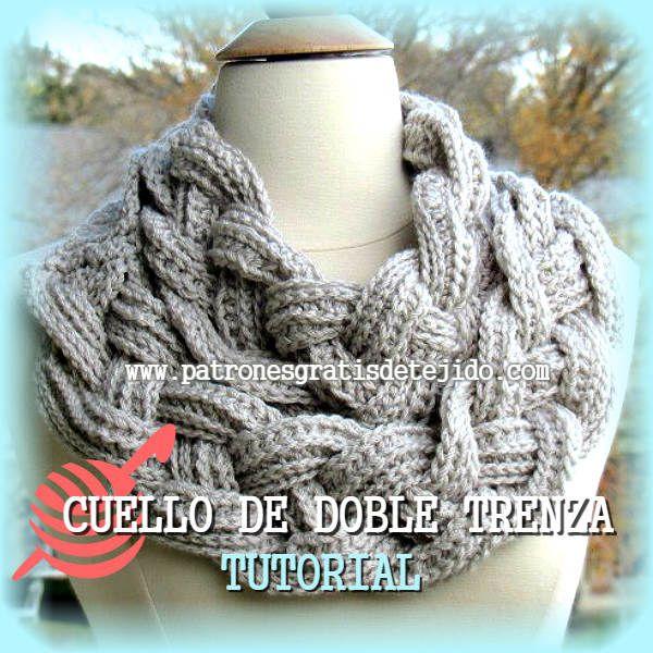 Cuello o bufanda de 2 trenzas de 4 hebras, tejido a crochet con ...