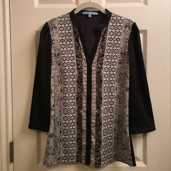 Antonio Melani Black/White Blouse Button down blouse. In excellent condition, only worn a few times to church. ANTONIO MELANI Tops Blouses