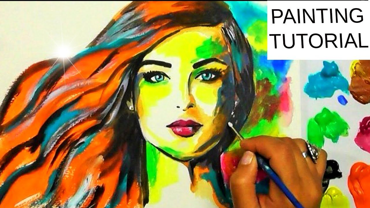 Acrylic Painting Colorful Girl Red Hair Woman Youtube Red