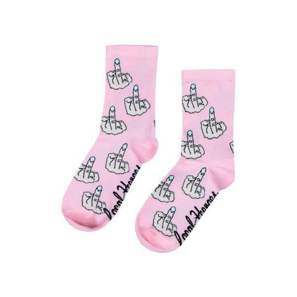 Middle Finger Socks ($12) ❤ liked on Polyvore featuring intimates, hosiery, socks и rock socks