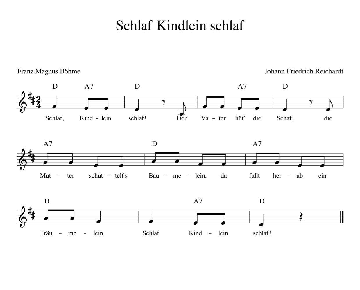 Schlaf Kindlein schlaf – Kinderlieder – Noten – Text – Kinderlieder zum Mitsinge… – Lisa Elzholz