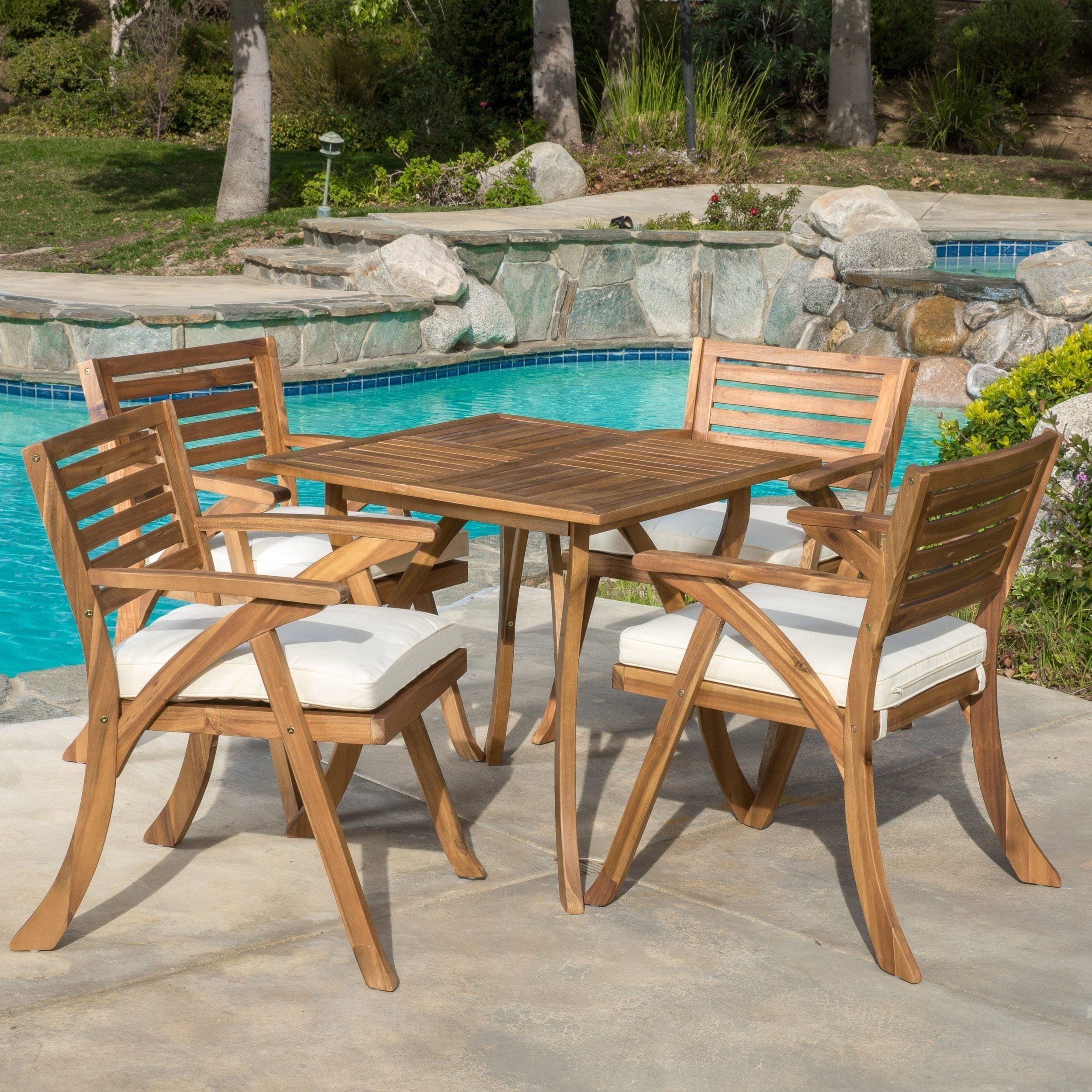 Outdoor Hermosa 5 Piece Acacia Wood Dining Set With Cushions By