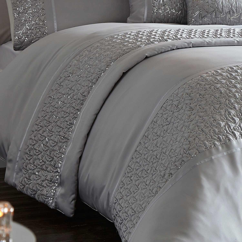 Zenia Shimmer Sequins Double Duvet Cover Set Silver