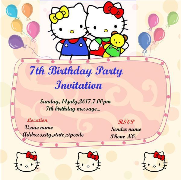 Hello Kitty 7th Birthday Party Invitation Template Hello Kitty Invitations Birthday Invitation Templates Hello Kitty Birthday Invitations