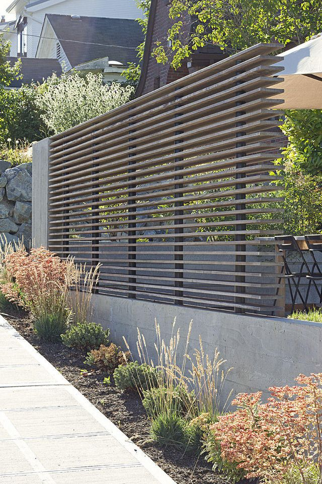 Moderner Zaun Und Bepflanzung Vorgarten Pinte