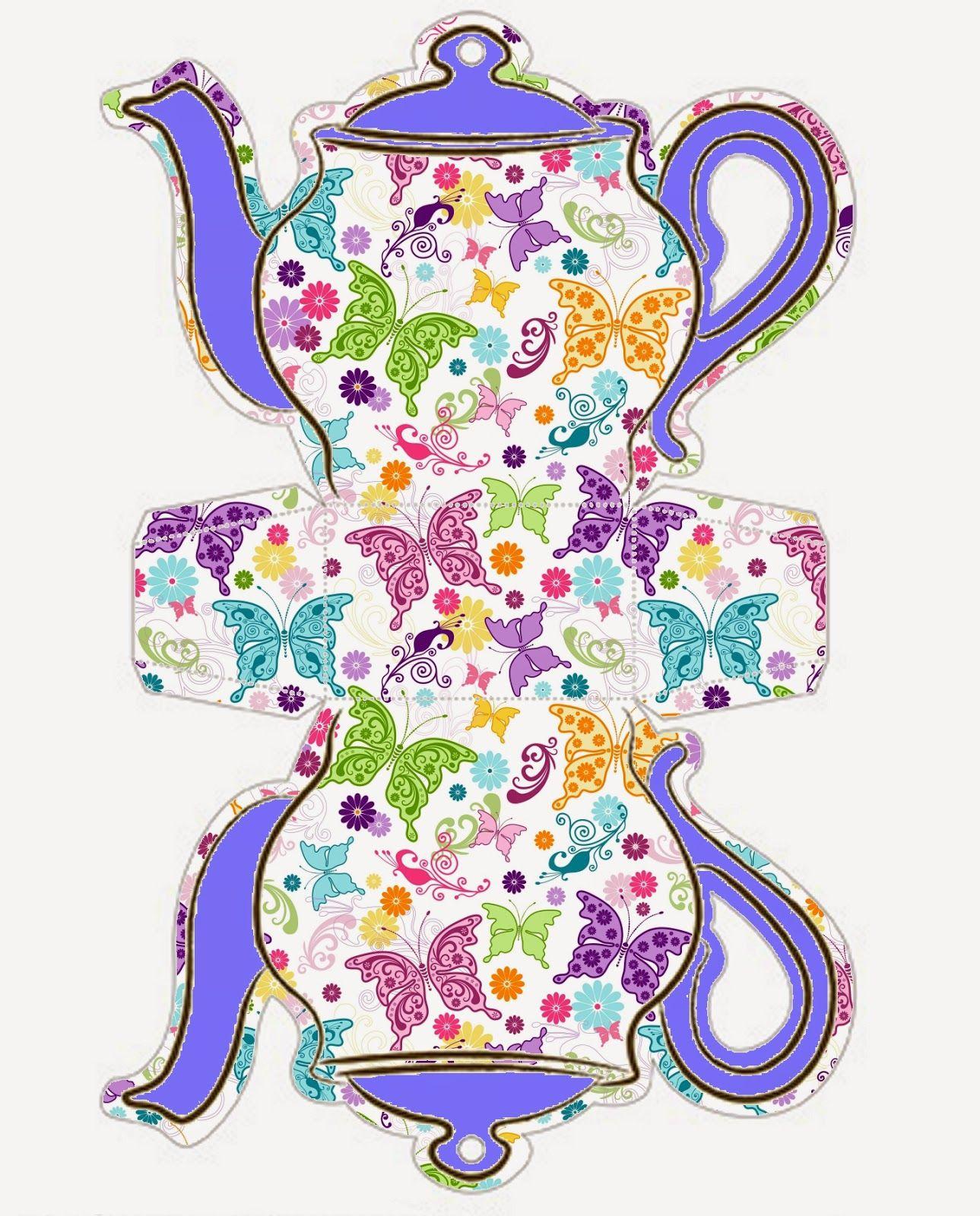 Butterflies Tea Pot Free Printable Box