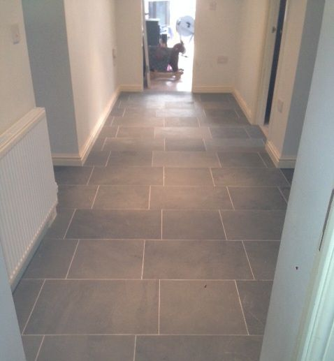 Grey limestone floor tiles for hallway flooring | Atlanta ...