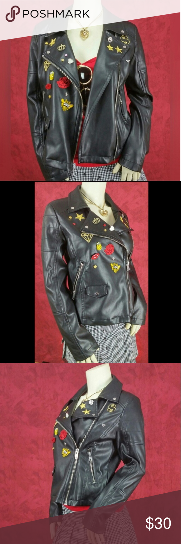 Express pin and patch faux leather jacket Leather jacket