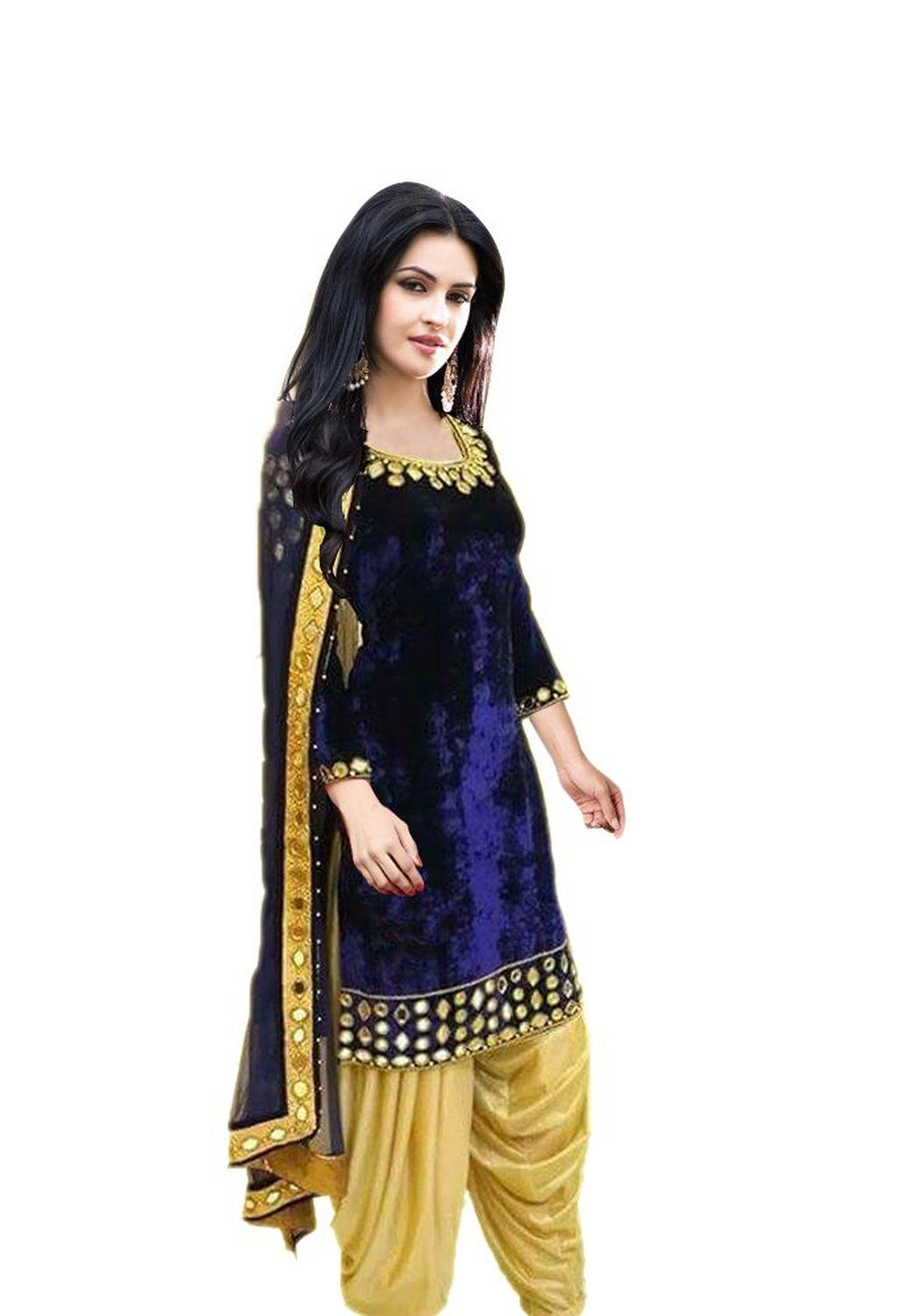 chakudee by blue velvet mirror work drees material: Amazon ...