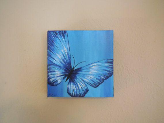 Blue Canvas Art Diy: Original Blue Butterfly Painting On 6x6 Canvas