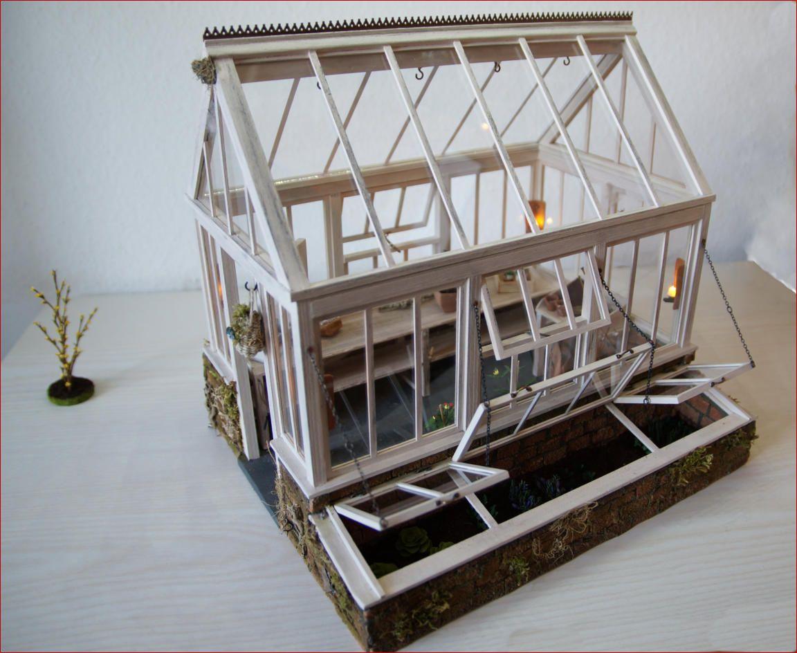 Gartenhaus Mit Treibhauskasten Fenster Zu Offnen Puppenhaus Miniatur Gartenhaus