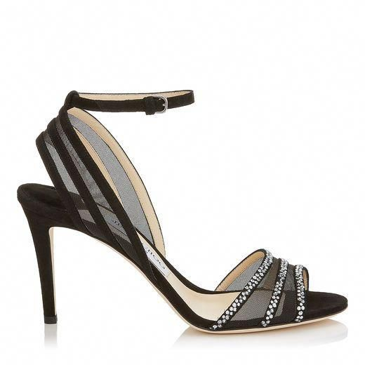 d9324cc0c9f JIMMY CHOO BETTY 85 Black Suede and Mesh Open Toe Pumps with Hotfix Crystals.   jimmychoo  shoes    JimmyChooHeels