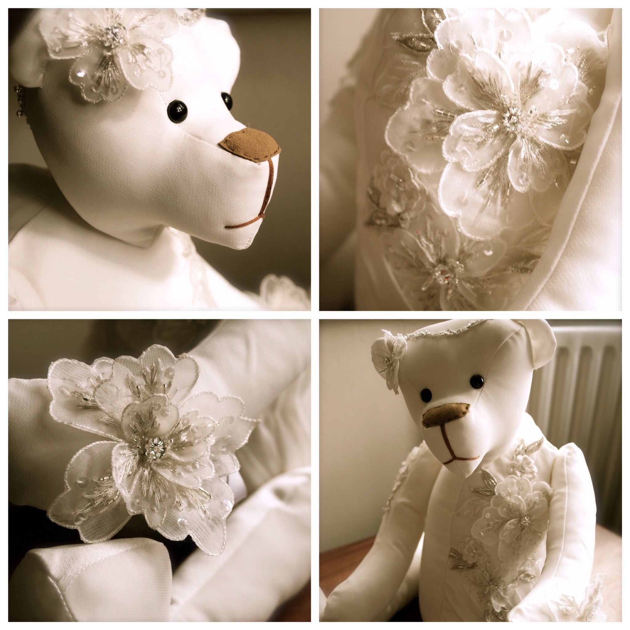 wedding dress bear, made from your own wedding dress. www