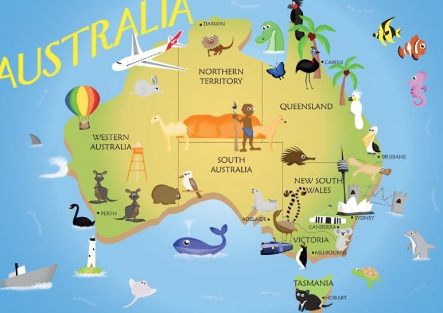 simple map of australia for kids_2jpg 874618 pixels