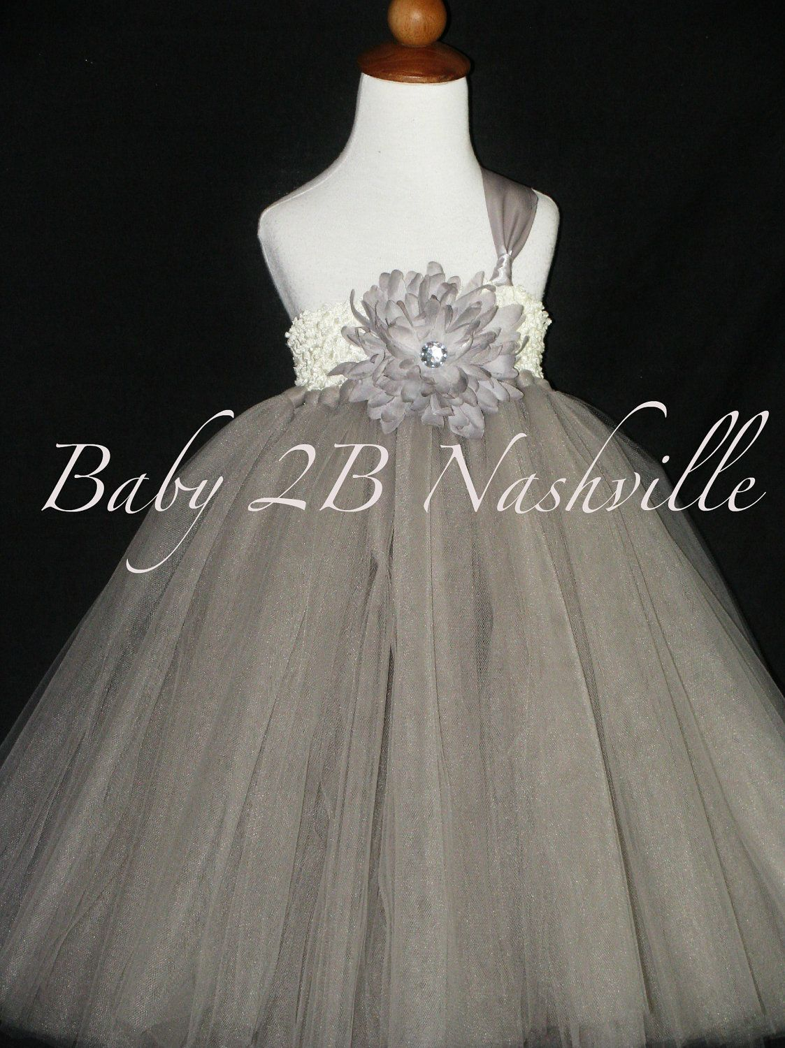 Flower Girl  Dress in Silver and Ivory Baby to 2T. $71.00, via Etsy.