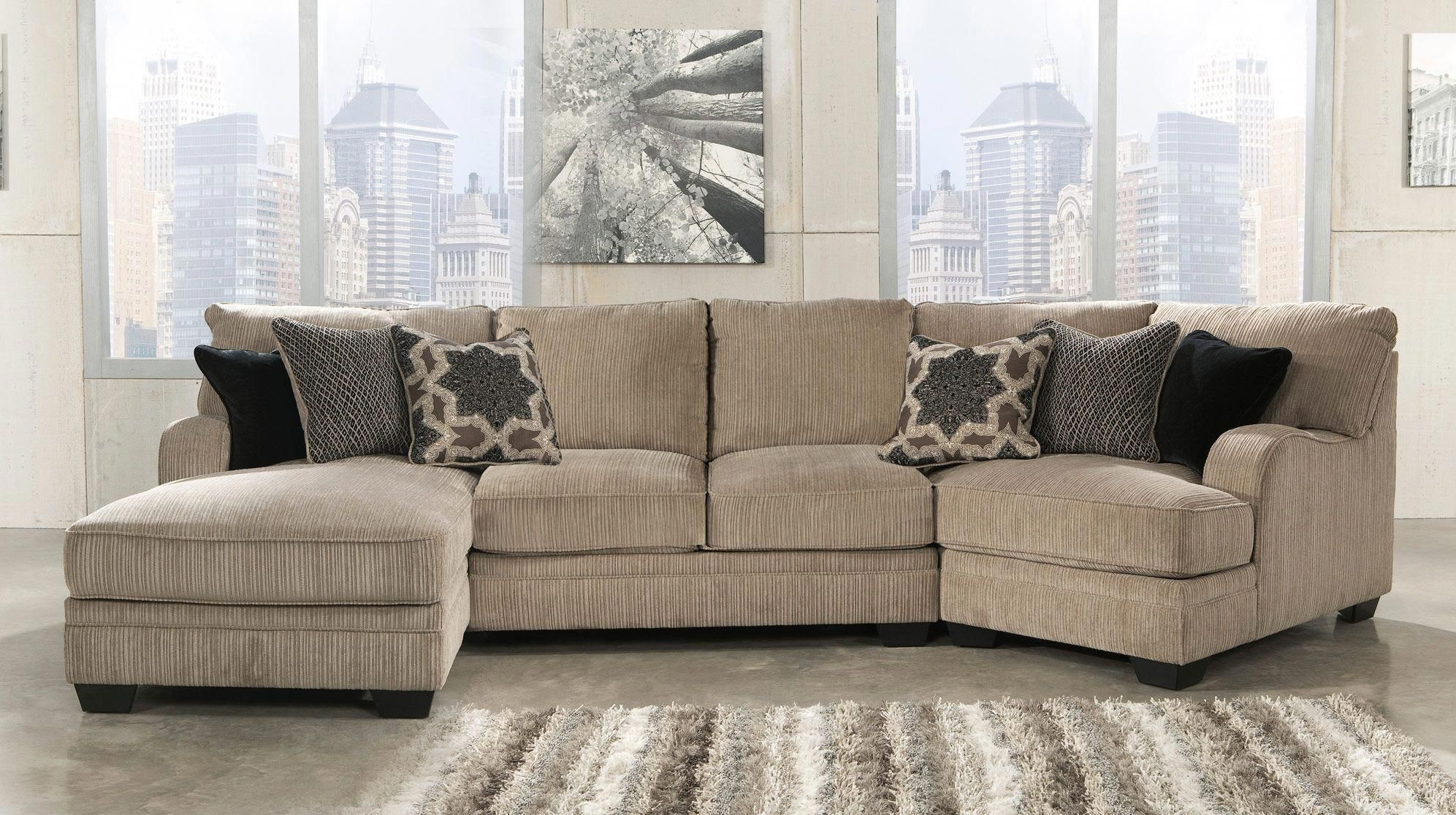 Katisha 30500 16 34 75 3 Piece Fabric Sectional Sofa With Left Chaise Armless Loveseat Ri Sectional Sofa With Chaise Fabric Sectional Sofas Livingroom Layout