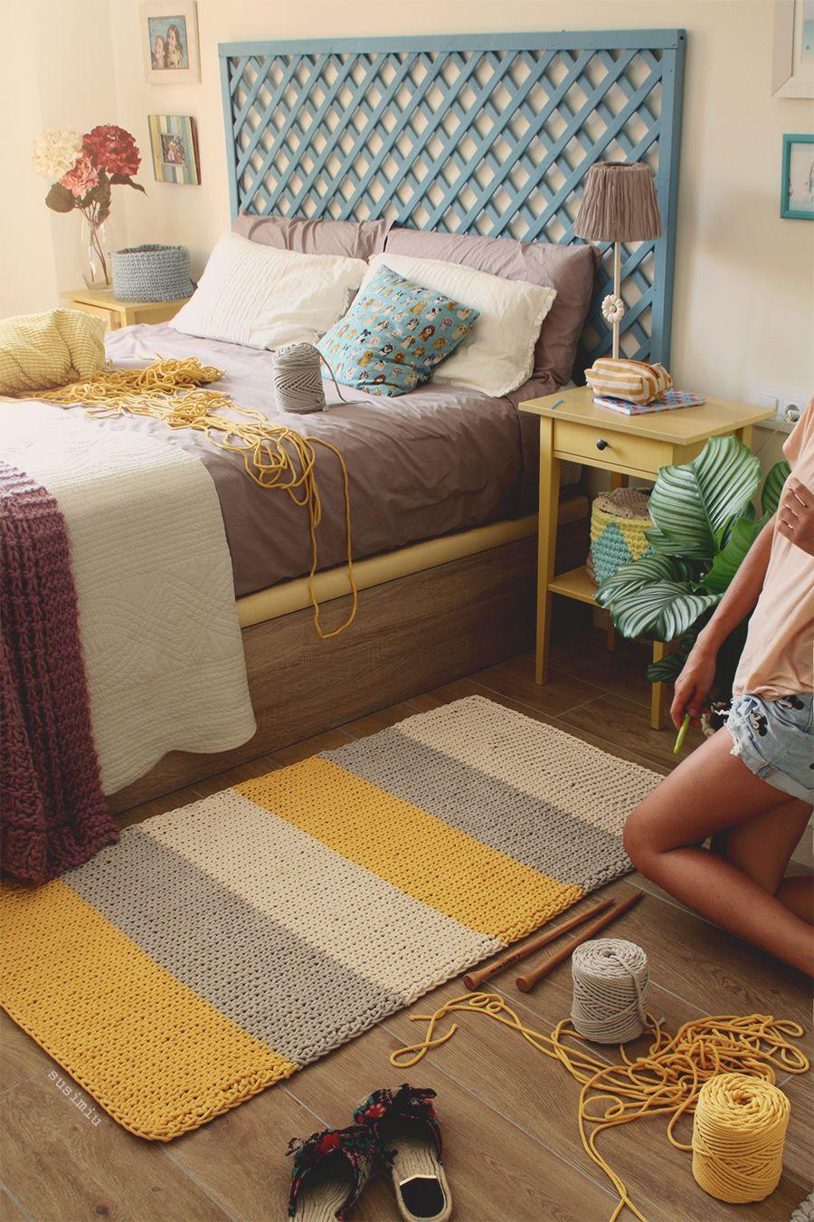 Susimiu tutorial para tejer a dos agujas con remate en ganchillo una alfombra rectangular de - Alfombra de trapillo cuadrada ...