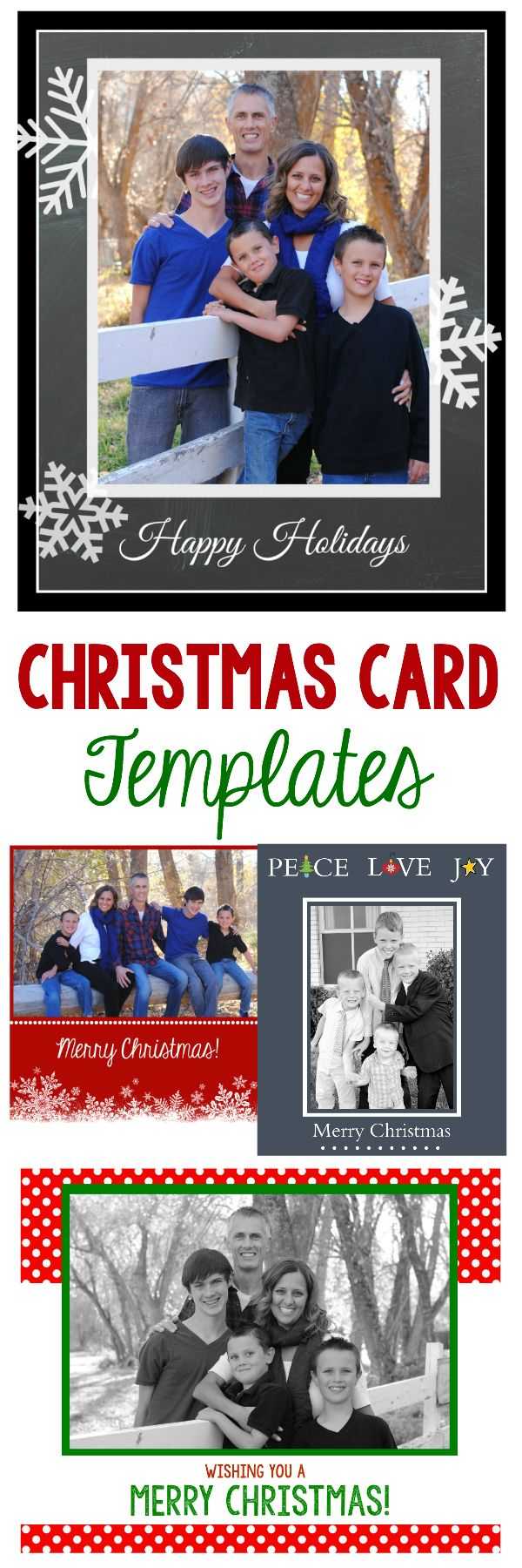free christmas card templates add your own pictures to make them your own - Christmas Photo Card Templates