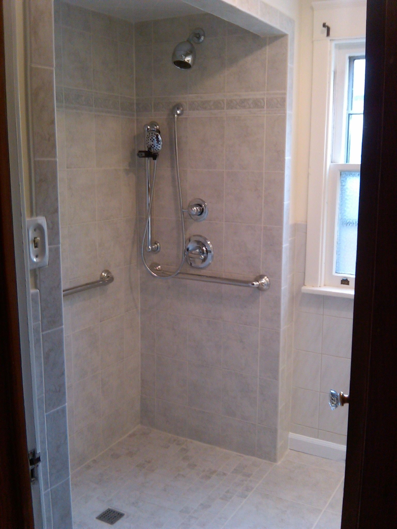 Roll In Shower Grab Bars And Hand Held Shower With Images