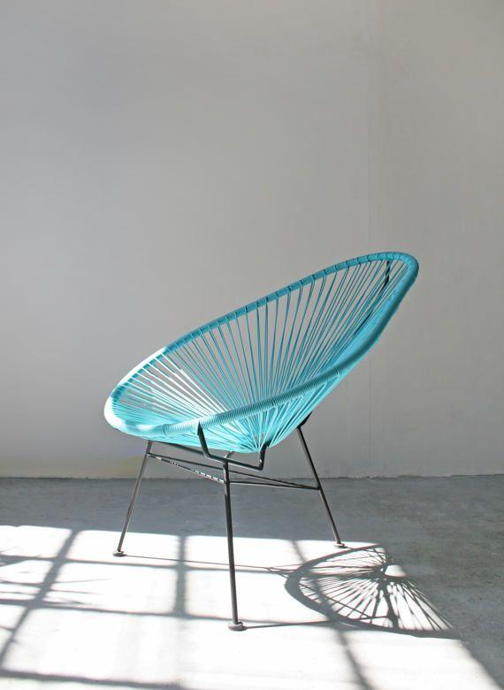 Vintage Turqoise Blue Black Wrought Iron Acapulco Patio Chair