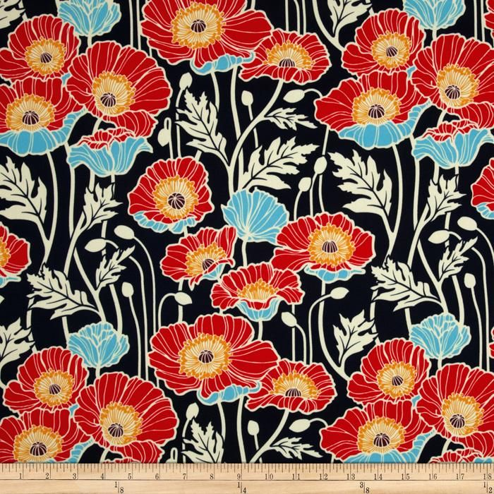 Joel Dewberry Notting Hill Sateen Pristine Poppy Midnight     COLORS:  Colors include sky blue, red, gold, cream and midnight blue.                                   						Item Number: 0274005                              				            	                                                                                           Our Price:  							    $12.98 per YD