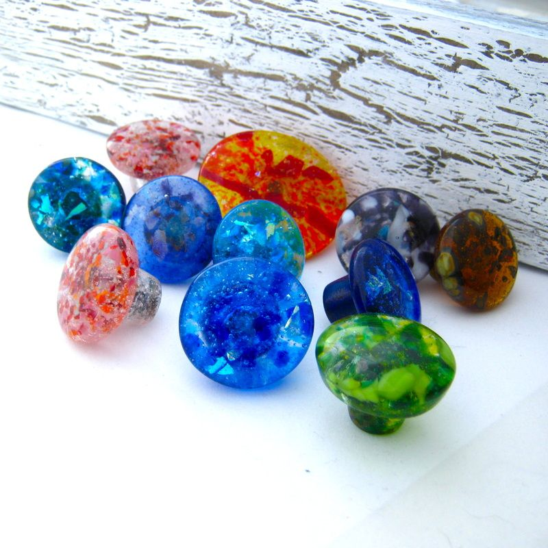 see examples of custom glass knobs cabinet pulls drawer handles