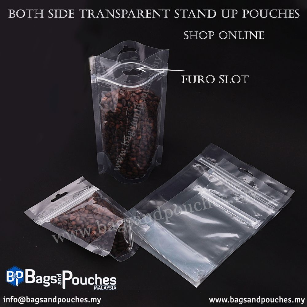 Both Side Transparent Stand Up Pouch Pouch Stand Transparent Coffeebeans Stand Up Transparent Tea Packaging