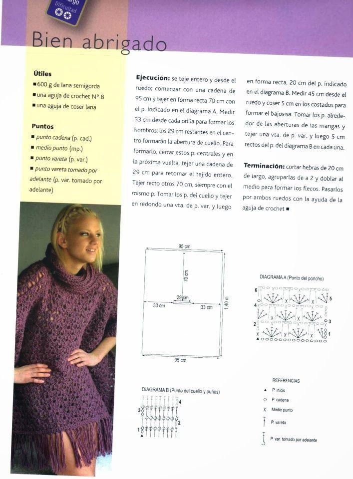 Poncho Cuello y Flecos de Crochet Patron - Patrones Crochet