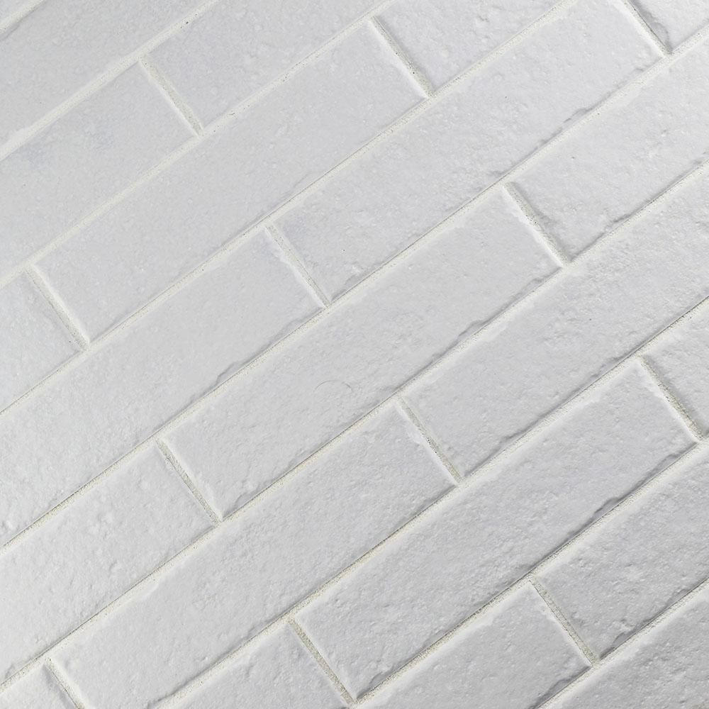 Merola Tile Brooklin Brick White 2 3 8 In X 9 1 2 In Porcelain Floor And Wall Tile 6 04 Sq Ft Case Fcd3bbwt Porcelain Flooring Merola Tile Brick Tiles