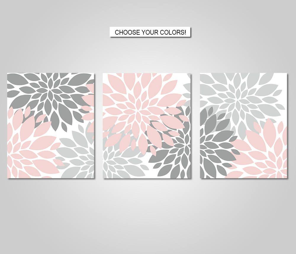 Dahlia Flower Burst Wall Art Decor Dahlia Flower Burst Etsy In 2020 Pink Grey Wall Art Grey Wall Art Flower Wall Art