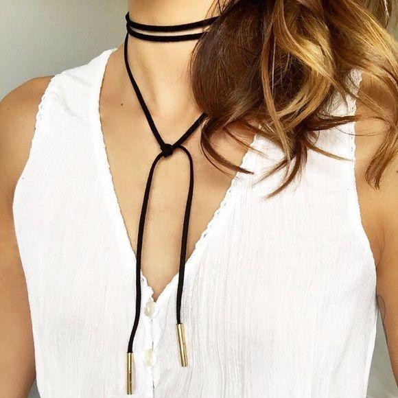 Tiny Heart Long Lariat Vegan Silver Colour Suede Choker Necklace